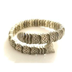 Vintage Enamel Flexible Fish Ouroboros Bracelet